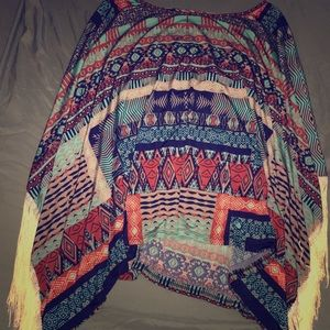 Beautiful silky patterned poncho with strings